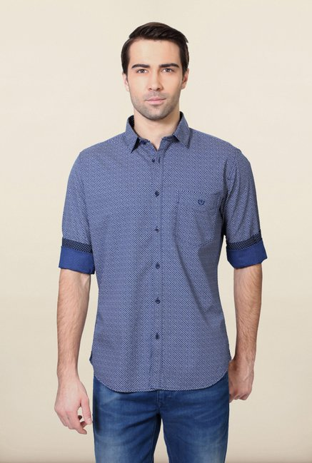 Van Heusen Blue Printed Slim Fit Shirt