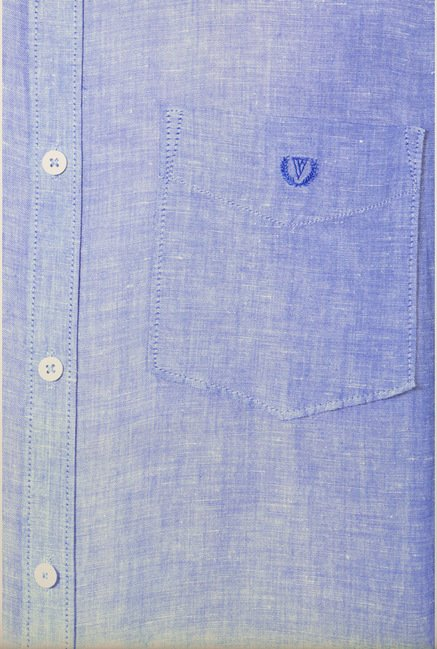 Van Heusen Blue Solid Slim Fit Shirt