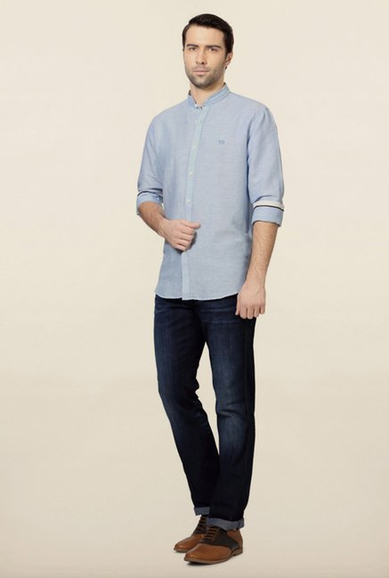 Van Heusen Blue Slim Fit Casual Shirt