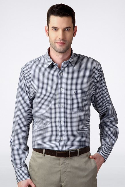 Allen Solly Navy Checks Casual Shirt