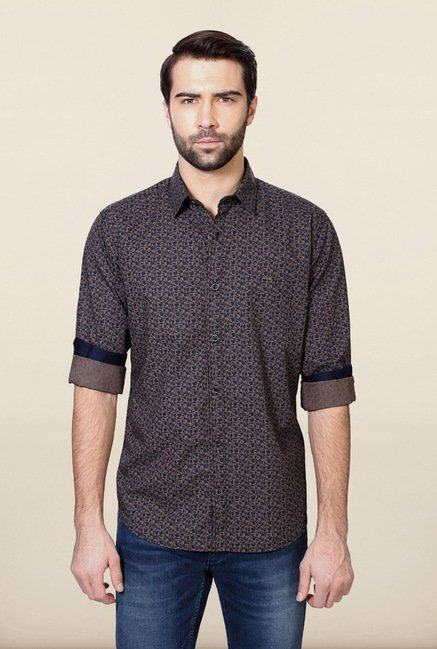 Van Heusen Brown & Blue Printed Shirt