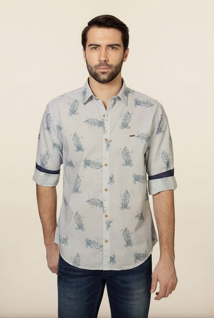 Van Heusen Off White Printed Shirt