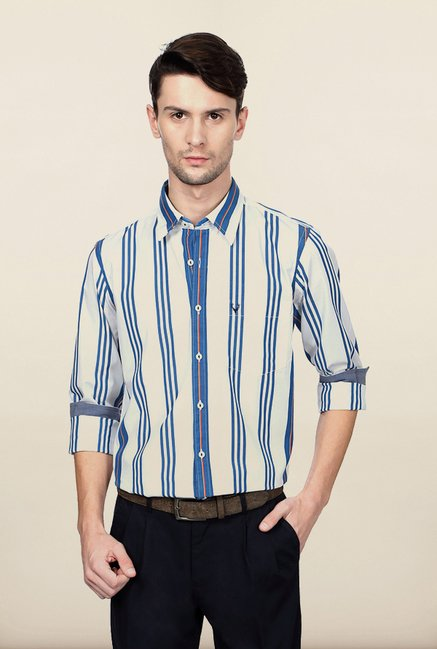 Allen Solly White Striped Casual Shirt