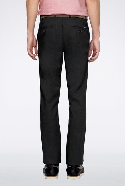 Allen Solly Charcoal Solid Casual Trouser