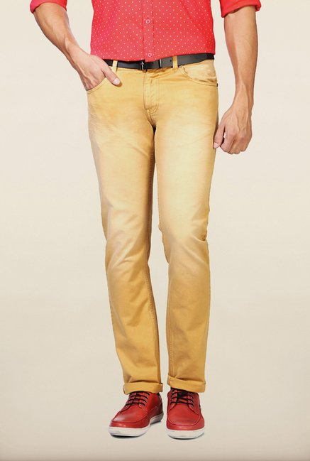 People Brown Solid Slim Fit Jeans