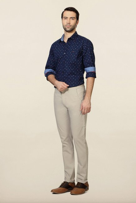 Van Heusen Cream Solid Chinos