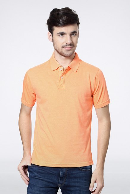 Peter England Orange Solid Polo T shirt