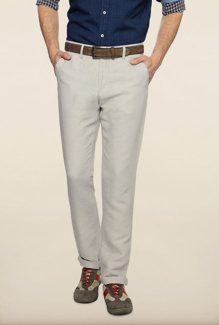 Allen Solly White Solid Casual Trouser