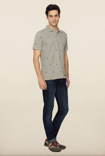 Allen Solly Grey Printed Polo T shirt