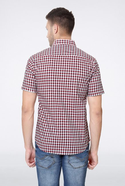 Allen Solly Maroon Checks Casual Shirt