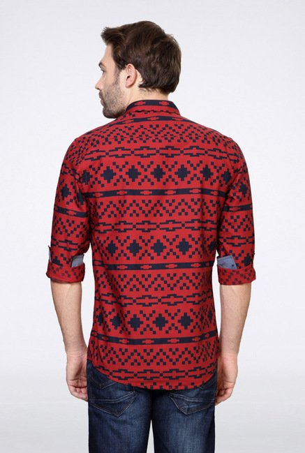 Allen Solly Red Printed Casual Shirt