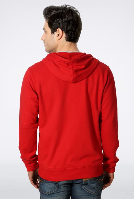 Peter England Red Printed Hooded Sweatshirt