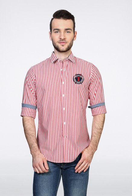Allen Solly Red Striped Casual Shirt