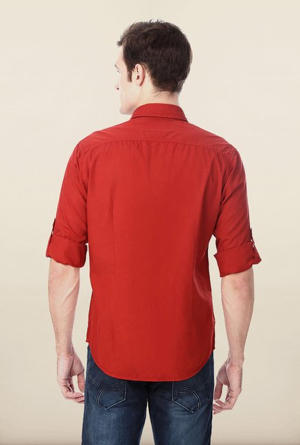 Peter England Red Solid Casual Shirt
