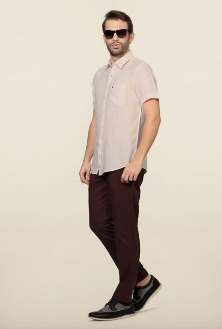 Allen Solly Pink Solid Casual Shirt