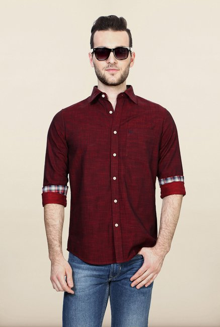 Allen Solly Maroon Solid Casual Shirt