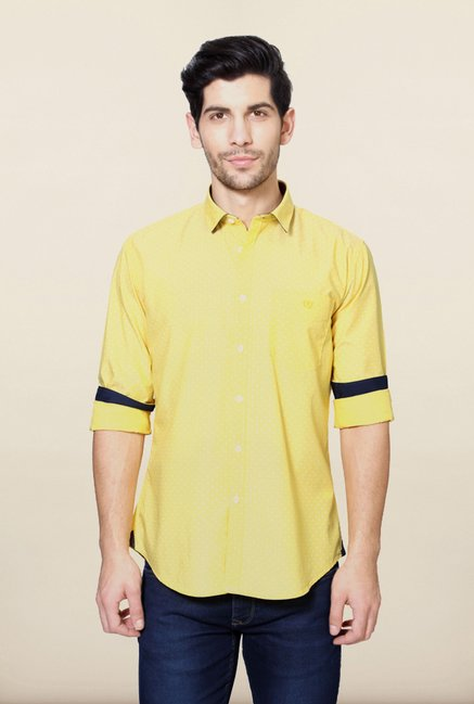 Van Heusen Yellow Printed Shirt