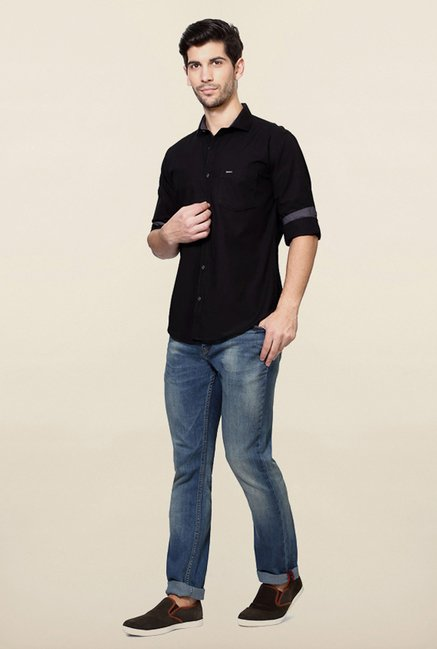 Van Heusen Black Solid Shirt