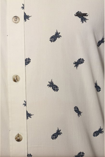 Van Heusen White Printed Cotton Shirt
