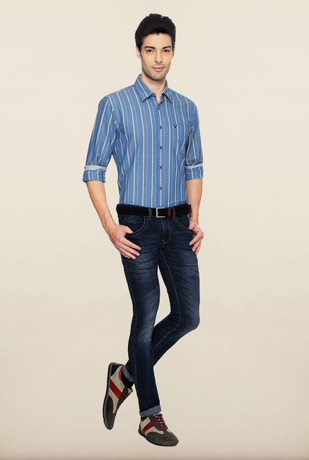 Allen Solly Blue Striped Casual Shirt