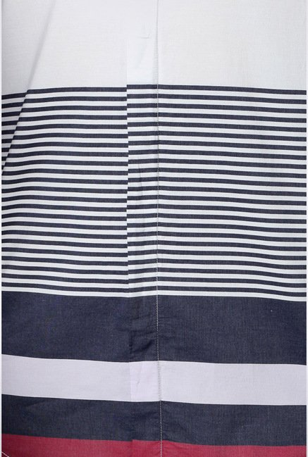 Peter England White Striped Casual Shirt