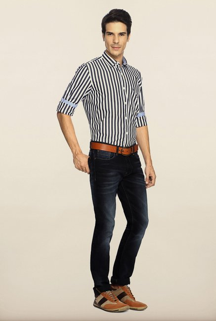 Allen Solly Grey Striped Casual Shirt