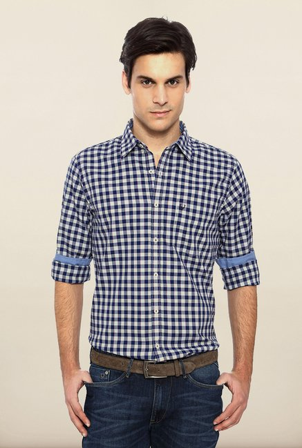 Allen Solly Blue Checks Casual Shirt