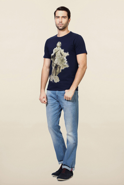 Van Heusen Navy Printed Cotton T Shirt