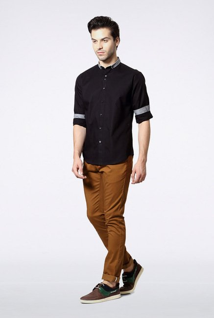 Van Heusen Black Solid Casual Shirt