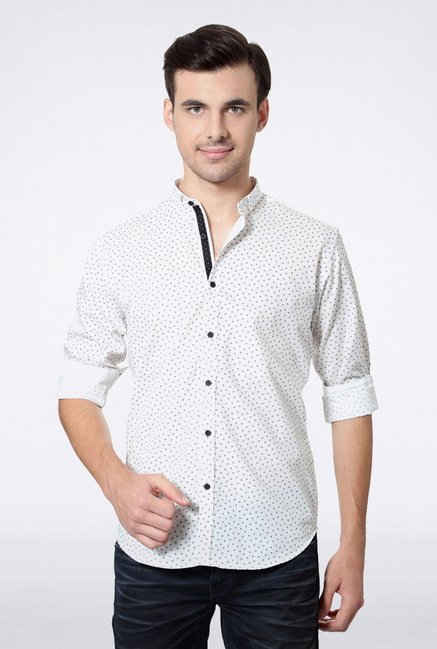 Van Heusen White Printed Casual Shirt