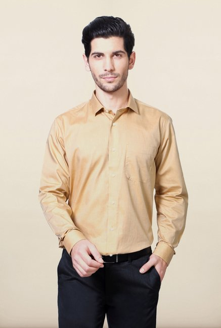 Van Heusen Brown Solid Shirt