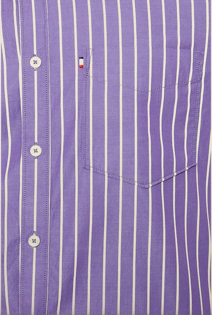 Van Heusen Purple Striped Casual Shirt