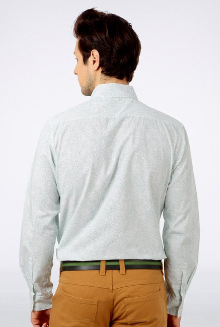 People Light Blue Printed Casual Shirt