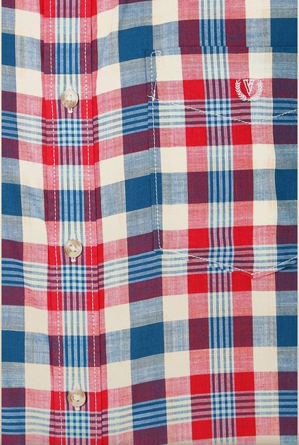 Van Heusen Multicolor Checks Cotton Shirt