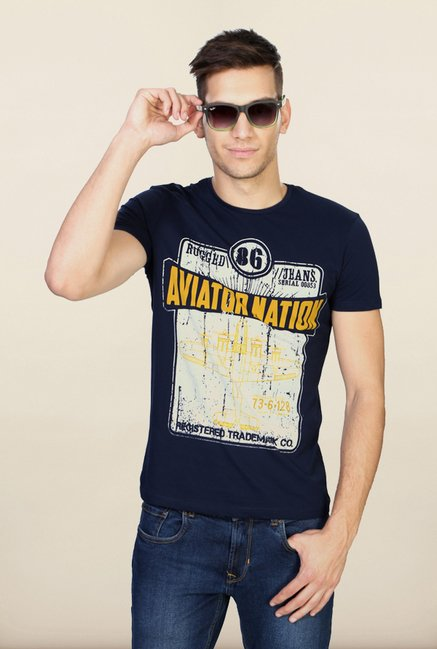People Navy Printed T Shirt