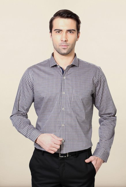 Van Heusen Grey & Blue Checks Shirt