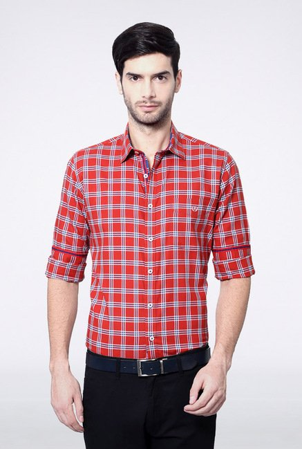 Van Heusen Red Checks Casual Shirt