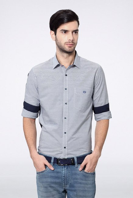 Van Heusen Light Blue Striped Casual Shirt
