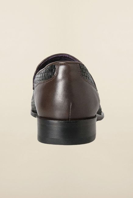 Louis Philippe Black Casual Slip-Ons