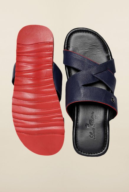 Louis Philippe Blue Cross Strap Sandals