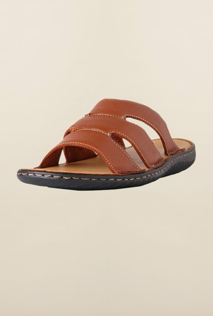 Louis Philippe Brown Slide Sandals