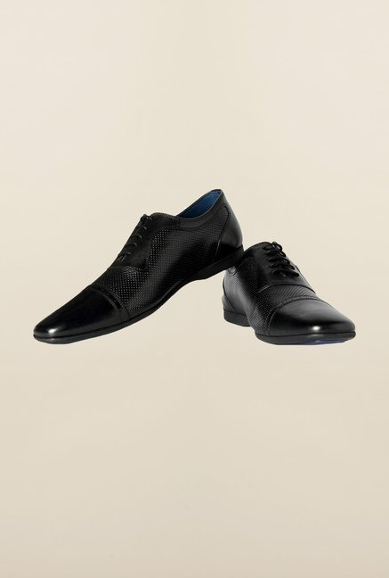 Louis Philippe Black Oxford Shoes