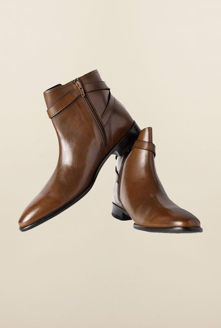 Louis Philippe Brown Biker Boots