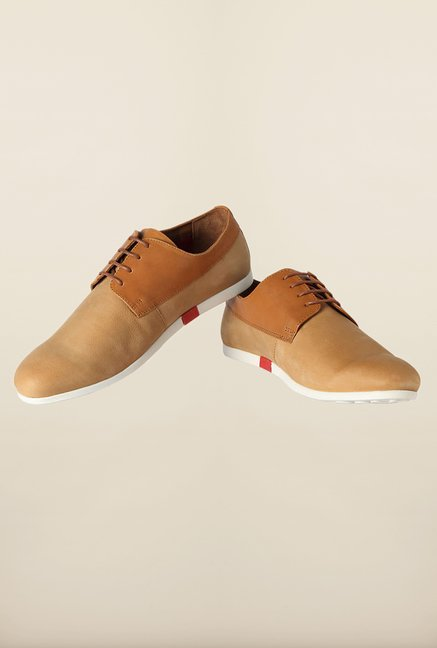 Louis Philippe Beige Derby Shoes