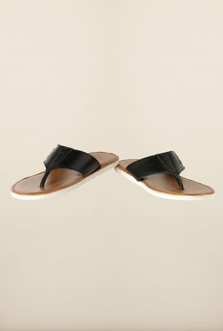 Louis Philippe Black & Brown Thong Sandals
