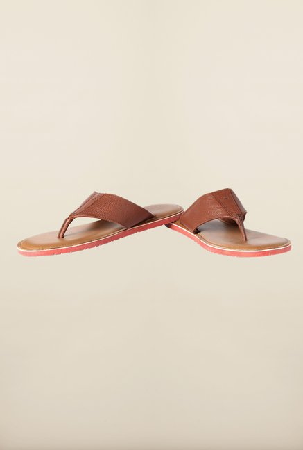 Louis Philippe Brown Thong Sandals
