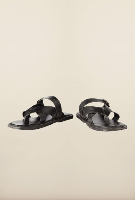 People Black Ankle Strap Sandals