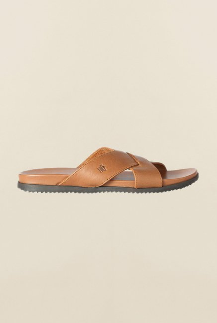 Louis Philippe Tan Cross Strap Sandals