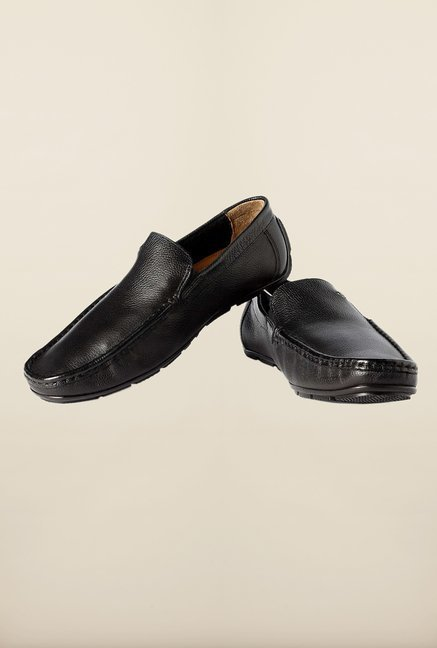 Louis Philippe Black Formal Slip-Ons Shoes
