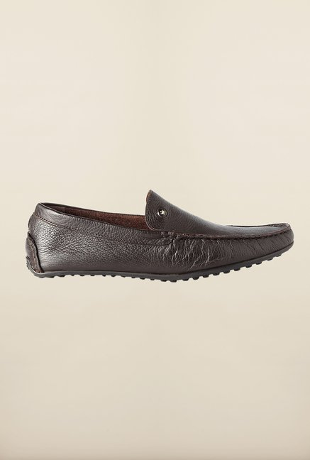 Louis Philippe Dark Brown Formal Slip-Ons Shoes